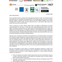 EUJS signs joint letter on the October 6-7 Moscow Conference on Sudan